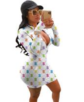 Dollar Print Sexy Reißverschluss Bodycon Kleid mit vollen Ärmeln