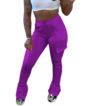Pantalones apilados con bolsillos de cintura alta lisos lisos