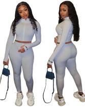 Einfarbiges zweiteiliges Strickoberteil und Hosen-Set