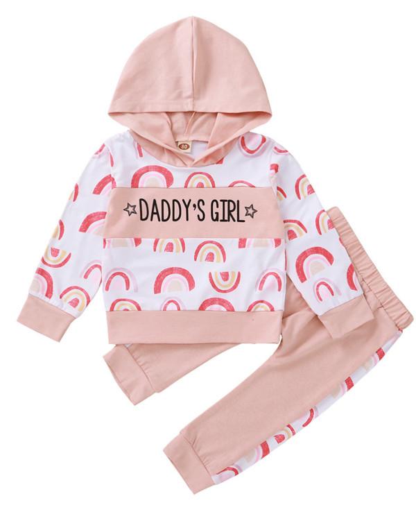 Tuta da bambina autunno bianca e rosa con cappuccio