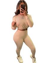 Conjunto de pantalón y top corto atado sexy de dos piezas de color sólido