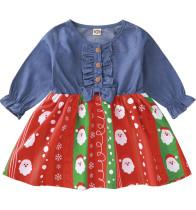 Vestido de festa de natal com estampa de bebê