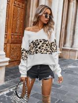 Lose Pullover mit Leopardenmuster und V-Ausschnitt