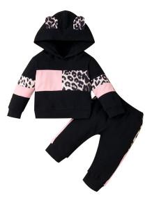 Moletom com capuz kids girl outono contraste leopardo