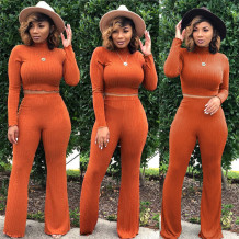 Solid Color Two Piece Knitted Crop Top and Pants Set