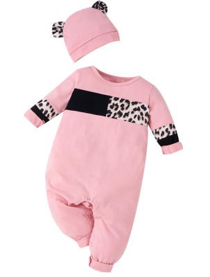 Macacão para bebê menina outono contraste leopardo macacão com calor correspondente