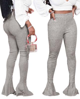 Pantalones de cintura alta con parte inferior de campana sexy de color sólido