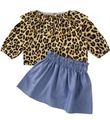 Conjunto de camisa infantil outono leopardo e saia azul