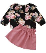 Çocuk Kız Sonbahar Çiçekli Gömlek ve Pembe Etek Seti