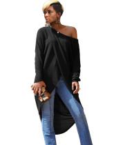 Camisa larga irregular envuelta de manga larga de color sólido
