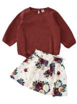 キッズガールオータムプレーンシャツとフローラルスカートセット