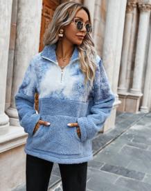 Polar Fleece Tie Dye Pocket Pullover Tops