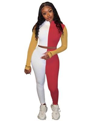 Ensemble haut court et pantalon en tricot contrastant Sports Fitness