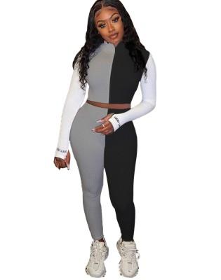 Conjunto de calça e top de malha de contraste de malha esportiva
