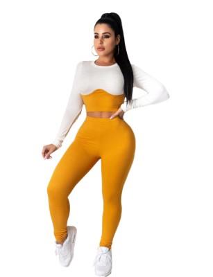 Conjunto sexy de dos piezas con top corto ajustado en contraste y pantalones de cintura alta