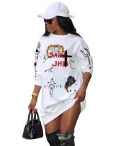 Print Weißes O-Ausschnitt Langarm Shirt Kleid
