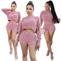 Top corto e pantaloncini in maglia rosa in due pezzi abbinati