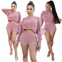 Matching Two Piece Pink Knitted Crop Top and Shorts Set