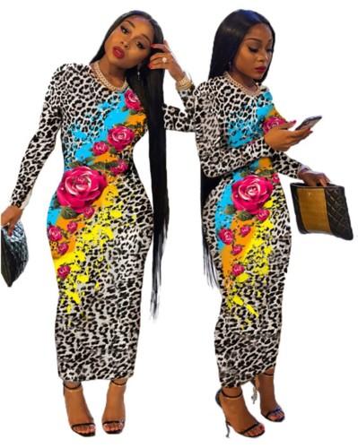 Abito longuette leopardato a maniche lunghe con stampa floreale