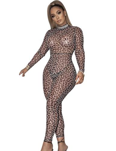 Tuta aderente sexy con stampa leopardata con maniche lunghe
