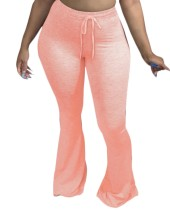 Solid Color High Waist Drawstring Flare Pants
