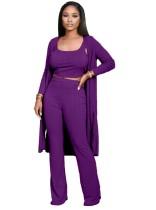 Haut à tricoter 3 pièces de couleur unie + pantalon + cardigan