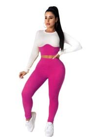 Sexy tweedelige set met contrasterende bodycon-crop top en broek met hoge taille