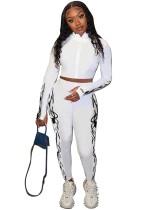 Sport Fitness Print Print Reißverschluss Crop Top und High Waist Legging Set