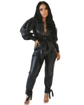 Black Leather Long Sleeve Top and Pants Set