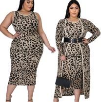 Vestido de leopardo plus size com cardigans longos combinando