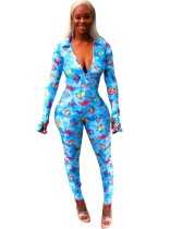 Butterfly Print Sexy Bodycon Jumpsuit with Full Sleeves