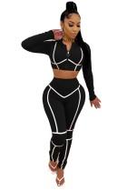 Sport Fitness Langarm Crop Top und High Waist Pants Set