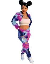Ensemble haut court et pantalon en denim déchiré tie-dye Street Style