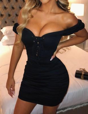 Mini-robe vintage froncée sexy à lacets noire