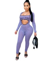 Print Cut Out Sexy Long Sleeve Bodycon Jumpsuit
