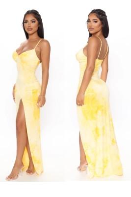 Vestido de noite longo com alça sexy com fenda amarrada