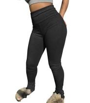 Pantalones ajustados sexy de cintura alta de color sólido