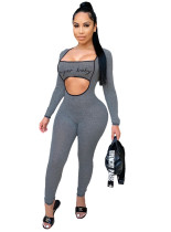 Print Cut Out Sexy Langarm Bodycon Jumpsuit