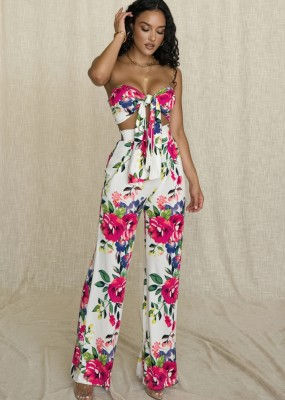 Conjunto de estampa floral Bandeau com nó e calça de cintura alta combinando