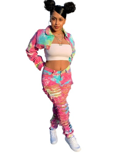 Street Style Tie Dye Ripped Denim Crop Top and Pants Set