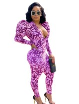 Sexy Deep-V Print Bodycon Jumpsuit with Pop Sleeves