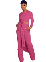 Einfarbiges 2-teiliges langes Hemd mit seitlichem Schlitz und passender Hose
