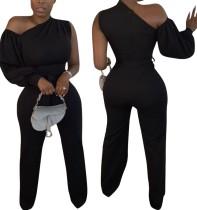 Schwarzer formeller Overall mit einer Schulter und einem Ärmel