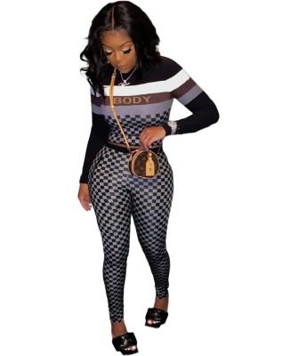 Conjunto de calça e top corta-corpo de duas peças xadrez outono