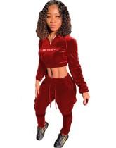Autumn Hoody Crop Top und Pants Velvet Trainingsanzug