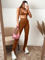 Sexy zweiteilige passende schlichte BH und hohe Taille Hosen Set