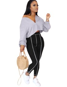 Autumn Plain Loose Crop Top and High Waist Tight Pants Set