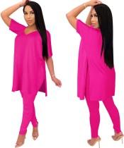 Camicia lunga con spacco tinta unita con set di leggings arricciati abbinati