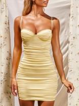 Sexy Yellow Push Up Strap Ruched Mini Dress