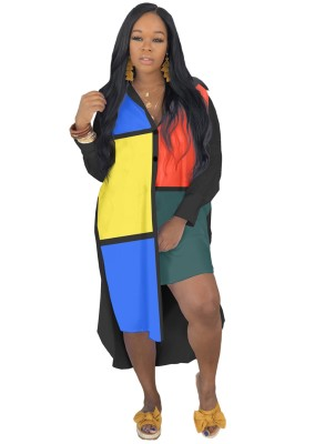 Vestido Blusa Longa Irregular Cor Contraste Outono